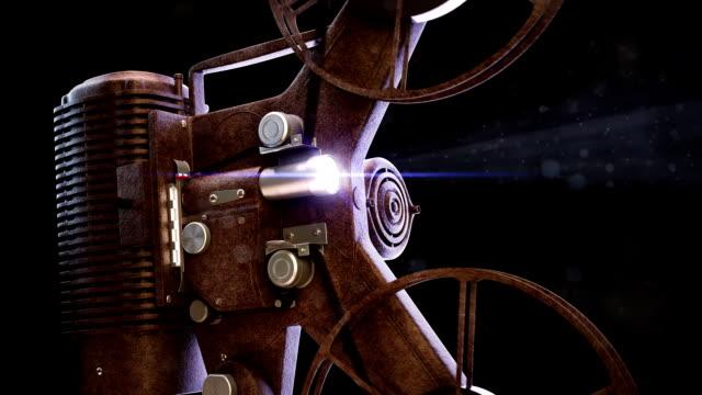 vintage projektor filmowy. odliczanie z zielonym ekranie przejście - urządzenie projekcyjne filmów i materiałów b-roll