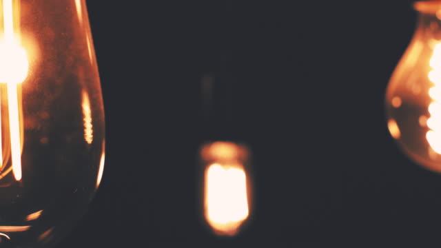 Vintage Lightbulbs on Black video
