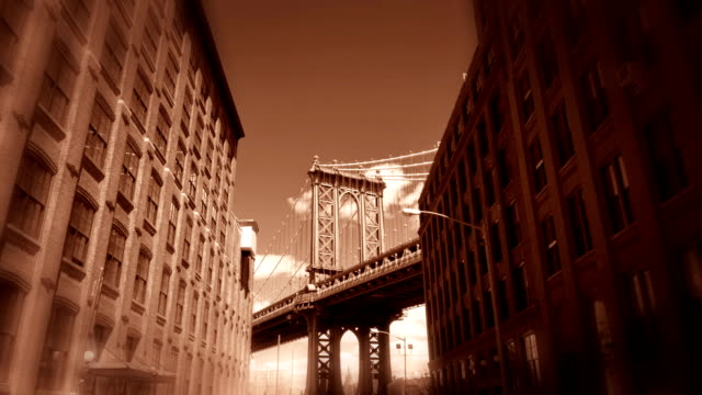 Vintage manhattan bridge in new york video