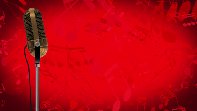 Vintage microphone on microphone stand with cascading red music symbols on a red background video