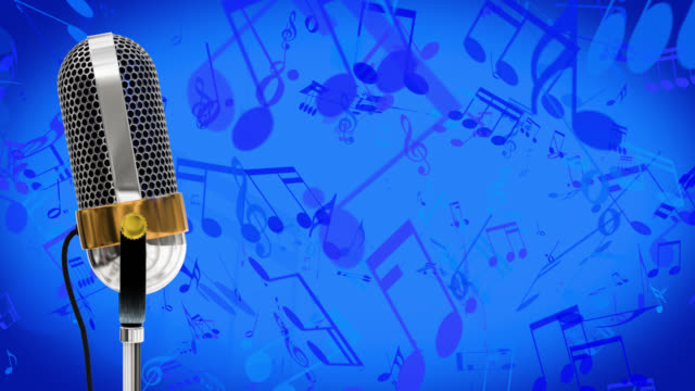 Vintage microphone on microphone stand with cascading red music symbols save with alpha channel on a blue background video