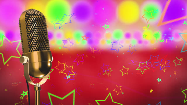 Vintage microphone on microphone stand with glowing circles and stars on a red background video