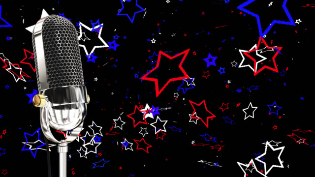 Vintage microphone on microphone stand with stars saved with alpha channel video