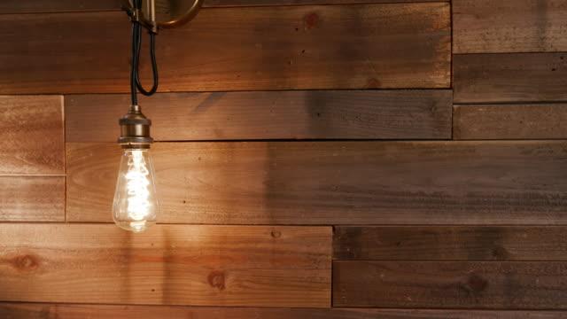 Vintage Modern Light Flicker on Wood Wall video