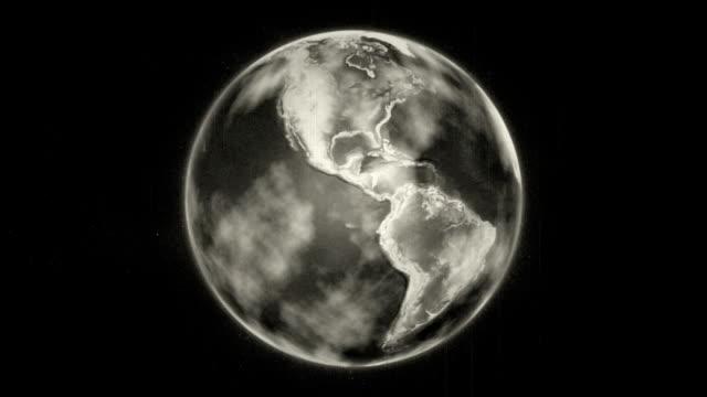 Vintage old look spinning earth loop video