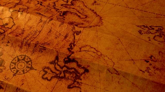 vintage old map - geografia fisica video stock e b–roll