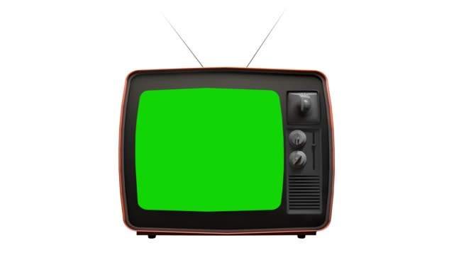 Vintage old TV with Green Screen. You can replace green screen with the footage or picture you want