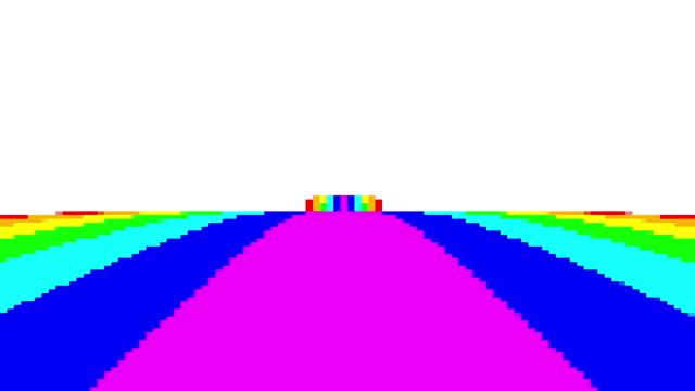 vídeos y material grabado en eventos de stock de el movimiento de píxeles vintage de la manera del arco iris con las nubes por encima en el punto de vista hacia adelante puede utilizar para el fondo animado colorido el fondo es bucle sin fisuras. - unicornio