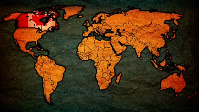 Royalty free world map countries hd video 4k stock footage b vintage political map of world with national flags video gumiabroncs Gallery