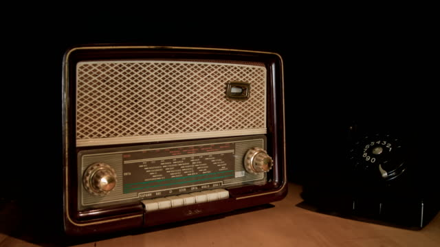 vintage radio and phone - radio video stock e b–roll