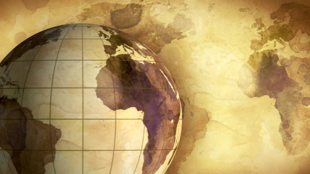 vintage rotating globe and map of the world loopable background video
