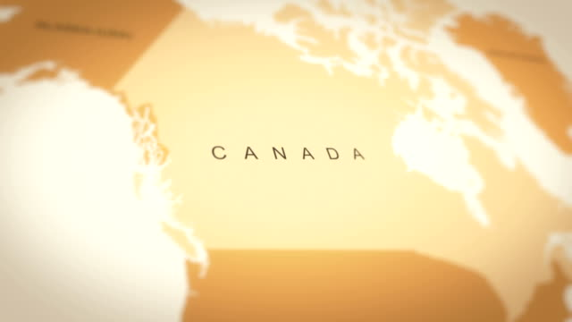 Video 4K Vintage Sepia Colored World Map, Zoom in to Asia Animation (Canada)