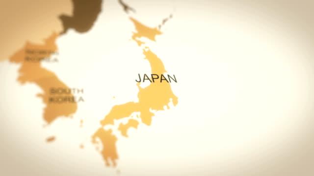stockvideo's en b-roll-footage met 4k vintage sepia gekleurde wereld kaart, inzoomen op asia animation (japan) - japan