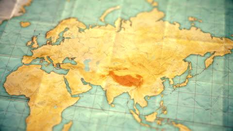 vídeos y material grabado en eventos de stock de vintage sepia color mapamundi - zoom asia - versión en blanco - rusia