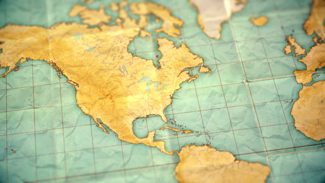 Video vintage sepia colored world map - zoom in to North America - blank version