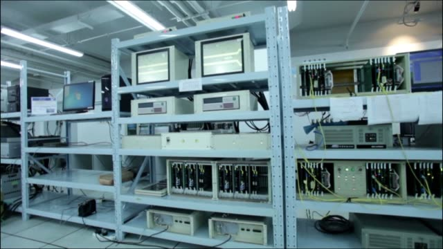 Vintage server room. Information technologies, ISP, control room oncepts. Servers racks in data center. the past stock videos & royalty-free footage