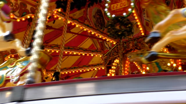 Vintage style carousel stops spinning video