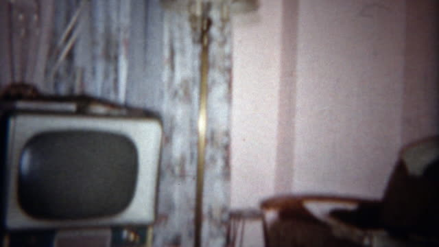 1963: Vintage style tv and living room couch and chair lifestyle furniture. video