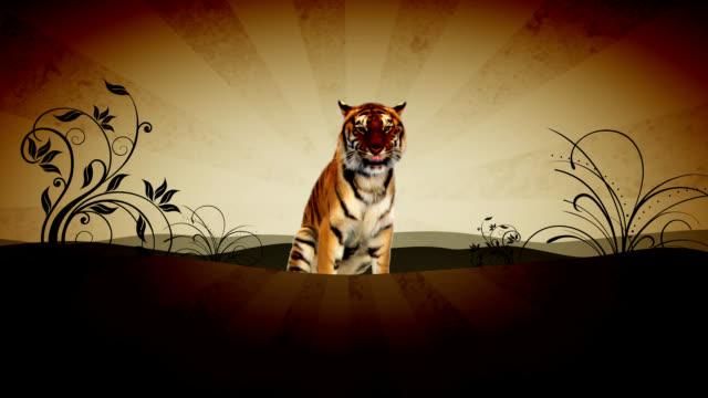 винтажный tiger - new year стоковые видео и кадры b-roll