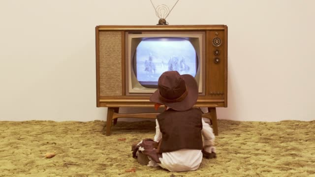 Vintage TV and Little Boy Cowboy