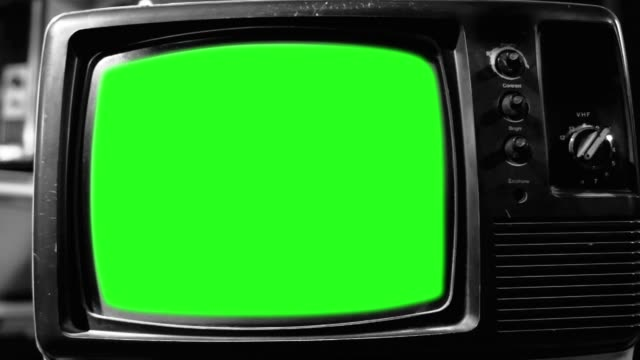 Vintage Tv Green Screen. Aesthetics of the 80s. Black and White Tone. Zoom Out.