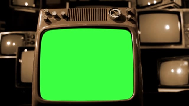 Vintage Tv Green Screen With Many 1980S Tvs. Dolly Shot. Sepia Tone. video