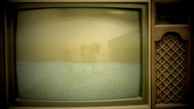 Vintage TV Showing Static on Screen (HD,NTSC) video
