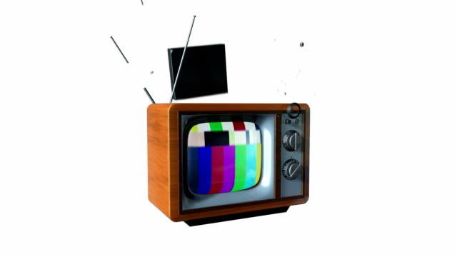 Vintage TV transforming into a new Led TV Vintage TV transforming into a new Led TV obsolete stock videos & royalty-free footage