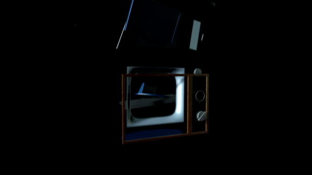 Vintage TV transforming into a new Led TV video