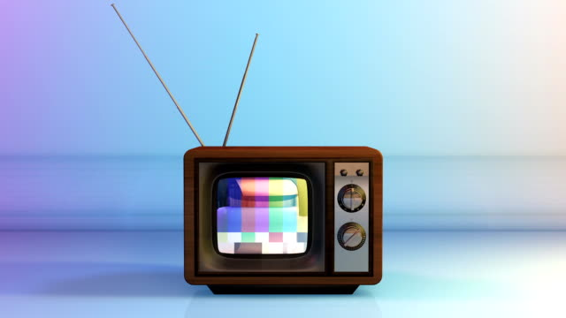 Vintage TV with Static Noise Test on Screen Vintage TV with Static Noise Test on Screen changing channels stock videos & royalty-free footage