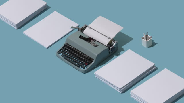 Vintage typewriter header and blank sheets Vintage typewriter's header and piles of blank sheets, old-timey writer and blogger concept, isometric objects overworked stock videos & royalty-free footage