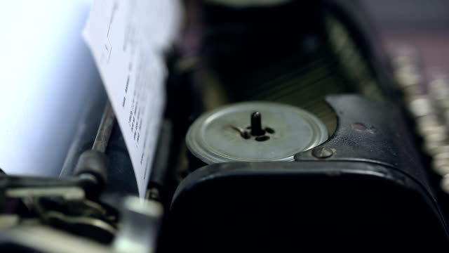 Vintage typewriter mechanism closeup, retro technologies, publishing business video
