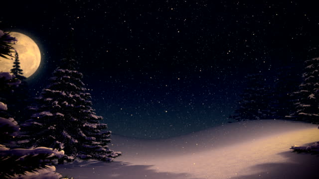 Vintage winter background landscape at night and space for text. video