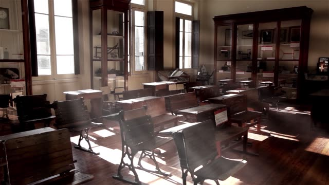 Vintage Wooden Chairs With Dust Particles In The School. Vintage Wooden Chairs With Dust Particles In The School. Full HD. primary school stock videos & royalty-free footage