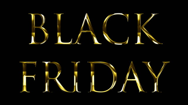 vintage yellow gold metallic black friday word text with light reflex on black background with alpha channel, concept of golden luxury online shopping sale business banner sign video