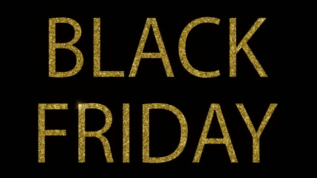 vintage yellow gold metallic glitter black friday word text with light reflex on black background with alpha channel, concept of golden luxury online shopping sale business banner sign video