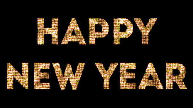 vintage yellow gold sparkly glitter lights and glowing effect simulating leds happy new year 2018, 2019, 2020, 2021, 2022 word text on black background with alpha channel, concept of golden video