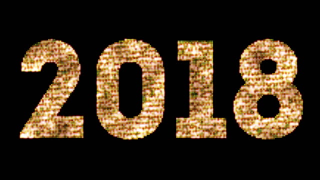 vintage yellow gold sparkly glitter lights and glowing effect simulating leds happy new year 2018 word text on black background with alpha channel, concept of golden holiday event, seamless - 2018 filmów i materiałów b-roll