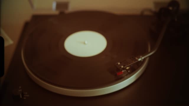 Vinyl records on a record player