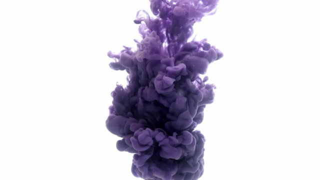 Violet Ink in water. Colour ink reacting in water creating abstract cloud formations. Can be used as transitions, Added to modern projects, gunge projects, art backgrounds. Inky Drops, Ink Bolts, Paint