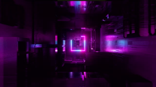 Violet neon cubes An animation inside a sci-fi/futuristic geometric structures which are illuminated by neon lights. square composition stock videos & royalty-free footage