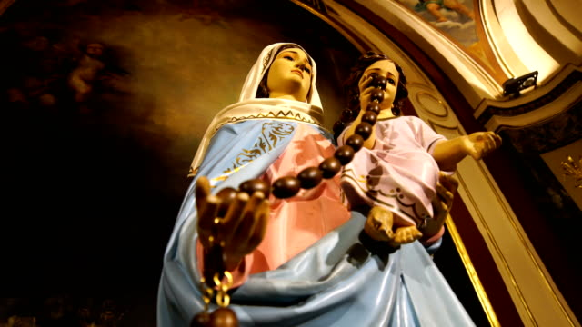Virgin Mary  in Cathedral Virgin Mary  in Cathedral statue stock videos & royalty-free footage