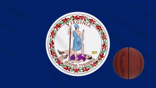vídeos de stock e filmes b-roll de virginia flag waving and basketball ball rotates, loop - jogos internacionais