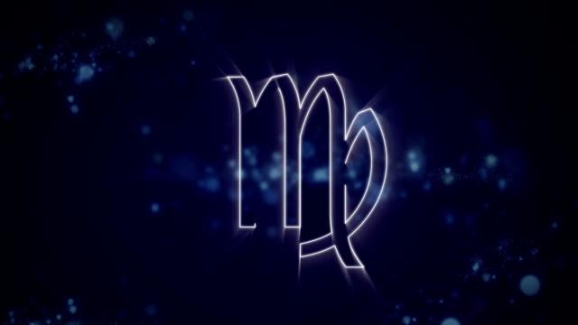 Virgo zodiac sign on purple