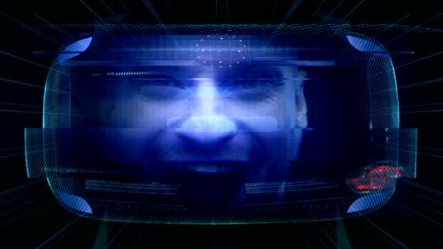 Virtual gaming. Young man having fun in virtual world video