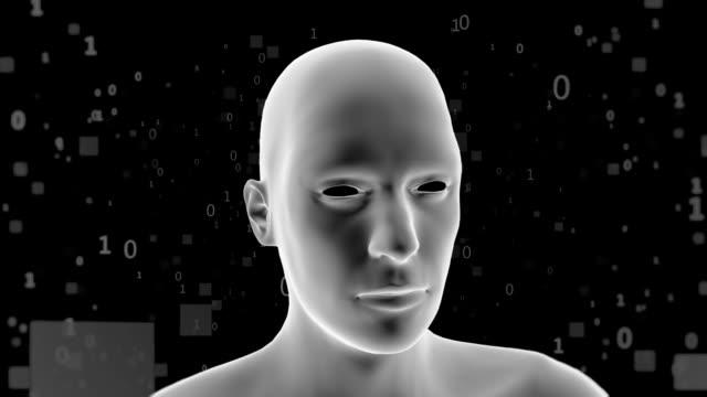 stockvideo's en b-roll-footage met virtuele menselijke omgeven door een grote hoeveelheid gegevens - kunstmatig