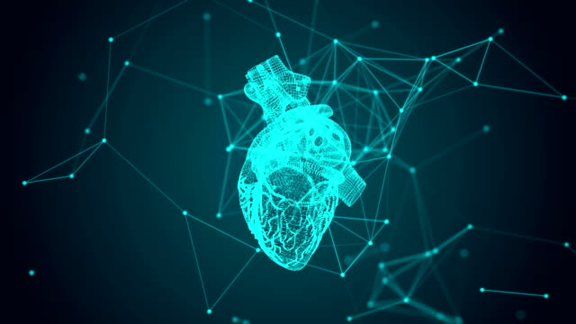 Virtual image of human heart. Modern methods of diagnostics of the heart Virtual image of human heart. Modern methods of diagnostics of the heart. 3d animation of rotating heart formed by revolving particles. Connected dots human heart stock videos & royalty-free footage