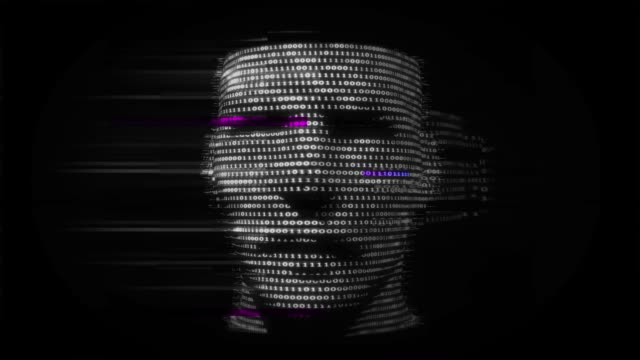 Virtual man made of digital data. video