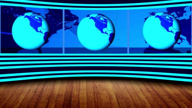 Virtual NEWS Studio, Full HD with rotating Earth video