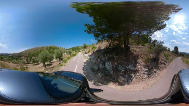 Virtual reality 360 degree view of car driving on mountain hairpin turns in Sierra de Tramuntana of Balearic Islands Majorca / Spain Virtual reality 360 degree view of car driving on mountain hairpin turns in Sierra de Tramuntana of Balearic Islands Majorca / Spain. car videos stock videos & royalty-free footage